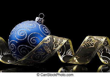Christmas tree decoration with ornament ribbon