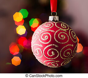 Christmas tree decoration on abstract light background