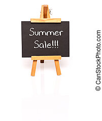 Summer Sale. Blackboard with text and easel.