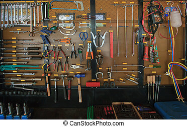 hand tool kit object arrangement on car auto service and...
