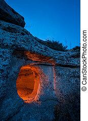 Pantalica at dusk - Rocky necropolis at dusk