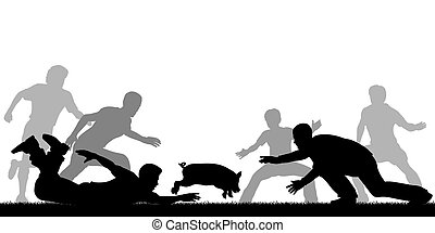 Greased pig - Editable vector illustration of people trying...