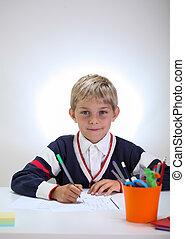 Schoolkid doing homework