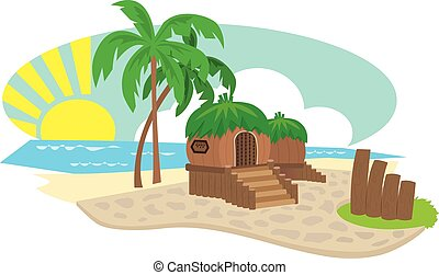 Bungalow - Small wooden bungalows on an island with palm...
