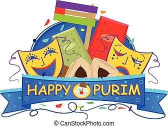 Mask Purim Banner - Happy Purim banner with Purim masks,...
