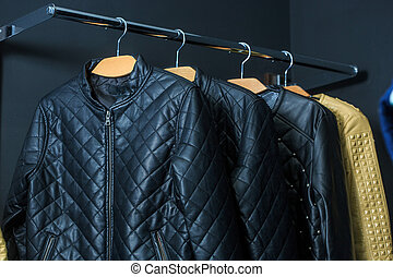 fashion jacket on hangers