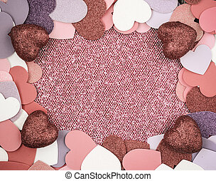 Red Hearts with Glitter Background for Valentines Day