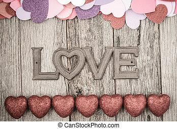 単語, バレンタイン, 木製である, 無作法, 背景, 心, 日