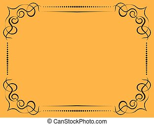 Vector ornate frame on a yellow background - Vector vintage...
