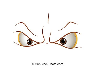 Angry Cartoon Eyes Expression Vector Illustration