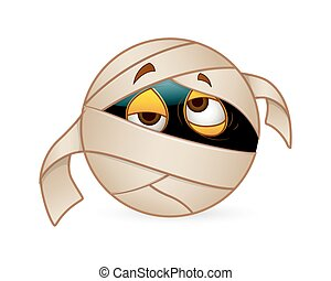 Halloween Mummy Smiley - Cartoon Lazy Sleepy Tired Mummy...