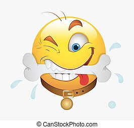 Hungry Smiley Face Expression - Cartoon Hungry Dog Smiley...