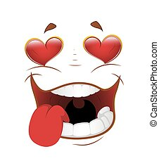 Falling in Love Face Expression - Funny Cartoon Falling in...