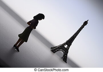 french woman silhouette with skirt and eiffel tower - French...