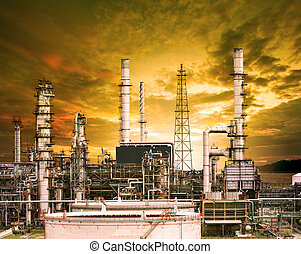 exterior building structure of oil refinery plant in heavy...
