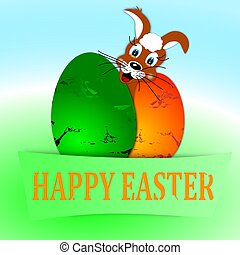 Happy easter - two colored eggs and bunny - Two colored eggs...