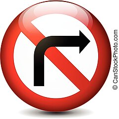 no right turn sign - illustration of no left turn sign...