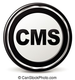 cms icon - illustration of cms metal icon on white...