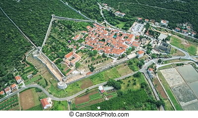 Ston on Peljesac peninsula, aerial - Copter aerial view of...