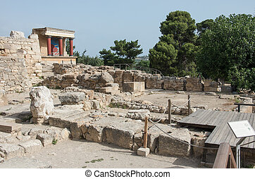 Knossos Minoan palace, Crete, Greece - the Minoan palace of...