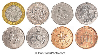 england circulating coins collection set isolated on white...