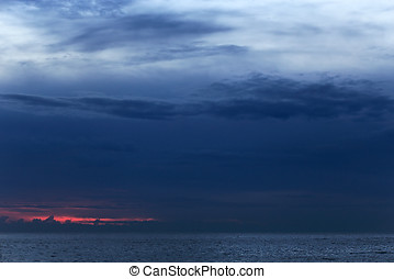 Blue dusk - Blue sea dusk cloudscape North of Portugal in...