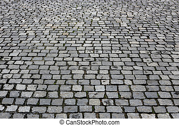 Texture paved road - Paving stones street closeup background