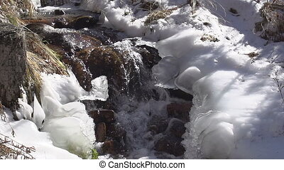 Freezing Creek - The water in the mountain stream of ice...