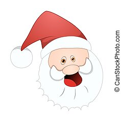 Laughing Santa Face - Funny Cartoon Laughing Santa Face...