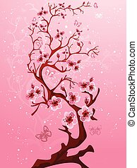 Blossoming tree. Raster version