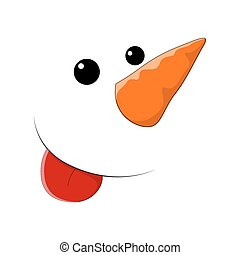 Cute Snowman Face Expression - Funny Cartoon Snowman...
