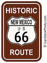 New Mexico Historic Route 66 traffic sign with the legend...