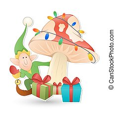 Elf with Christmas Gifts Vector