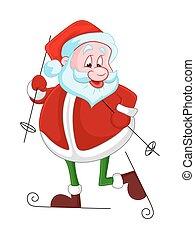 Funny Santa Skiing