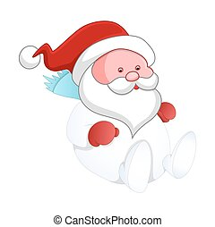 Sitting Cute Kid Santa Claus