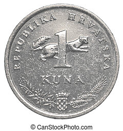 one croatian Kuna coin isolated on white background - set