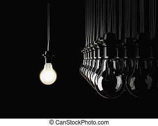 illuminated fluorescent light bulb - An illuminated...