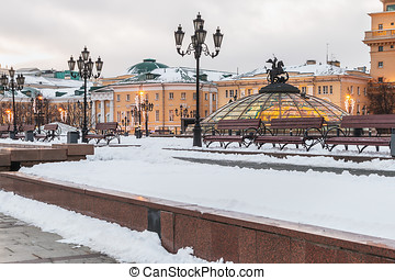 evening view of the Manege Square in Moscow