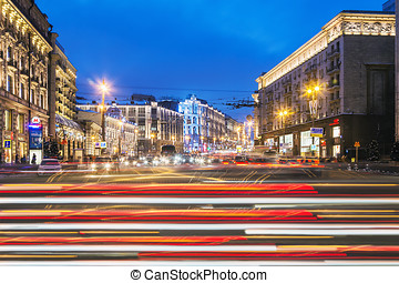 view of Tverskaya street from Manege Square in winter...