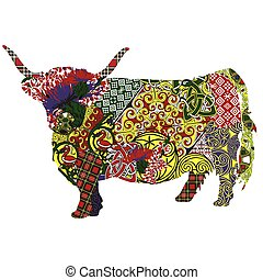cow in the Scottish patterns - silhouette of a Scottish...