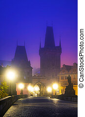 The Old Town as seen from Charles bridge in Prague in the...