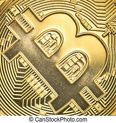 gold bitcoin - Bitcoin currency closeup financial concept