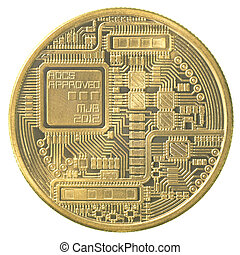 gold bitcoin (physical) isolated on white background