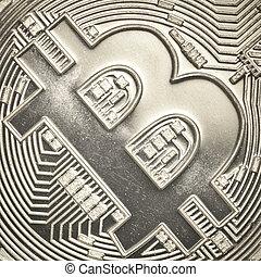 silver bitcoin - Bitcoin currency closeup financial concept