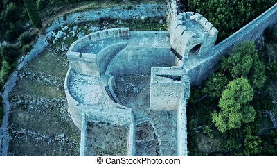 Ston tower ruin aerial