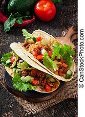mexicano, Tacos, con, carne,