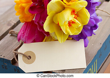spring flowers posy with blank tag