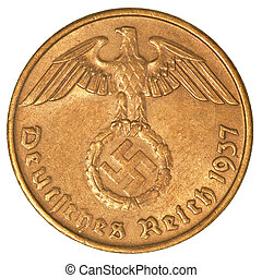 german 3rd riech coin shows eagle and swastica