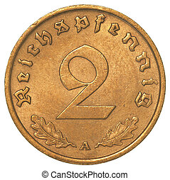 two german 3rd riech pfennig coin isolated on white...