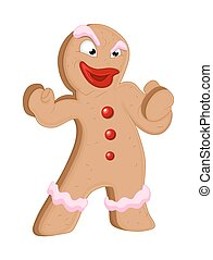 Angry Gingerbread Man Character - Cartoon Angry Gingerbread...